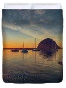 Morro Bay Harbor Sunset Duvet Cover