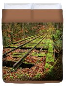 Mossy Train Track In Fall Duvet Cover