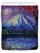 Mount Fuji - Textural Impressionist Palette Knife Impasto Oil Painting Mona Edulesco Duvet Cover