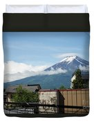 Mount Fuyji From A Distance With Clouds Around It Duvet Cover