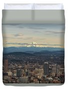 Mount Hood View Over Portland Cityscape Duvet Cover
