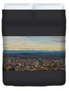 Mount Hood View Over Portland Cityscape Panorama Duvet Cover