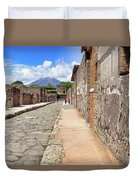 Mount Vesuvius And The Ruins Of Pompeii Italy Duvet Cover by Robert Bellomy