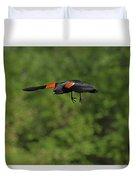Mr. Red-winged Blackbird In-flight Duvet Cover