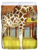 Ms Kitty And Her Giraffe  Duvet Cover
