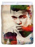 Muhammad Ali Watercolor Portrait Duvet Cover