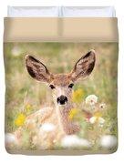 Mule Deer Fawn Lying In Wildflowers Duvet Cover