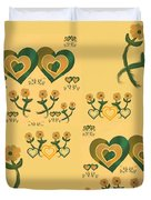Multiple Tilted Hearts Bronze II Duvet Cover