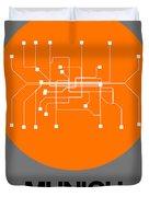 Munich Orange Subway Map Duvet Cover