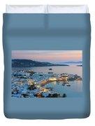 Mykonos Town At Sunset Mykonos Cyclades Greece  Duvet Cover