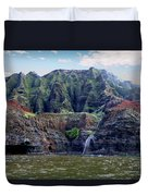 Napali Cave And Waterfall Duvet Cover