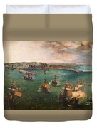 Naval Battle In The Gulf Of Naples Duvet Cover