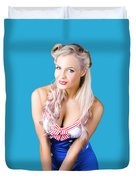 Navy Pinup Woman Duvet Cover