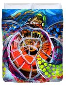 Neon Sea Turtle Wake And Drag Duvet Cover