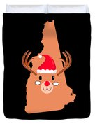 New Hampshire Christmas Antler Red Nose Reindeer Duvet Cover