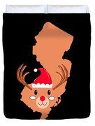 New Jersey Christmas Hat Antler Red Nose Reindeer Duvet Cover