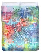 New Orleans Map Watercolor Duvet Cover
