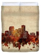New Orleans Skyline Sepia Duvet Cover