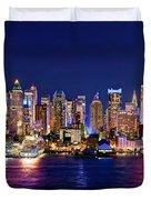 New York City Nyc Midtown Manhattan At Night Duvet Cover