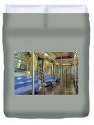New York City Empty Subway Car Duvet Cover