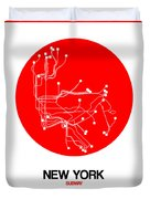 New York Red Subway Map Duvet Cover