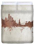 New York Rust Skyline Duvet Cover
