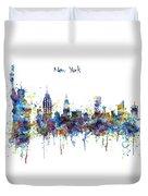 New York Watercolor Skyline Duvet Cover
