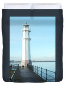 Newhaven Harbour Lighthouse Edinburgh Duvet Cover