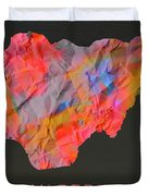 Nigeria Tie Dye Country Map Duvet Cover