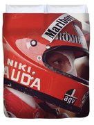 Niki Lauda. 1976 United States Grand Prix Duvet Cover