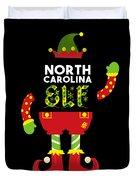 North Carolina Elf Xmas Elf Santa Helper Christmas Duvet Cover