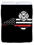 North Carolina Firefighter Shield Thin Red Line Flag Duvet Cover