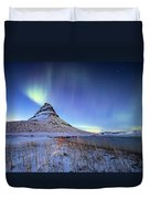 Northern Lights Atop Kirkjufell Iceland Duvet Cover by Nathan Bush