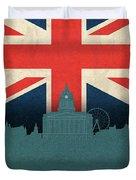 Nottingham England City Skyline Flag Duvet Cover