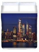 Nyc Sundown Gold And Twilight Skies Duvet Cover