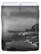 Ocean Splash In Black And White Duvet Cover