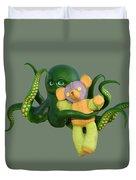 Octopus Green And Bear Duvet Cover