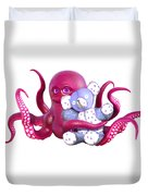 Octopus Pink With Bear Duvet Cover
