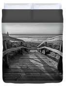 Ogunquit Beach Footbridge At Sunrise Ogunquit Maine Black And White Duvet Cover