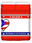 Ohio License Plate Duvet Cover
