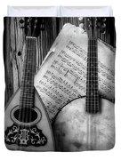 Old Banjo And Mandolin Black And White Duvet Cover