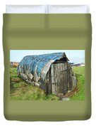 old boat hut at Lindisfarne island Duvet Cover