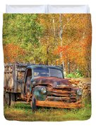 Old Farm Truck Fall Foliage Vermont Square Duvet Cover