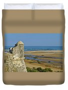 Old Fortress Guarding Tower In Portugal Duvet Cover
