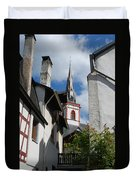 old historic church spire and houses in Ediger Germany Duvet Cover
