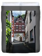 old historic street and woodframed house in Ediger Germany Duvet Cover