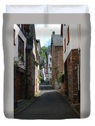 old historic street in Ediger Germany Duvet Cover