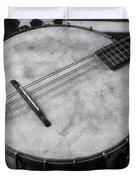 Old Mandolin Banjo In Black And White Duvet Cover