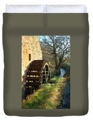 old mill wheel and stream at Preston Mill, East Linton Duvet Cover
