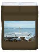 old pier at North berwick and Forth estuary Duvet Cover